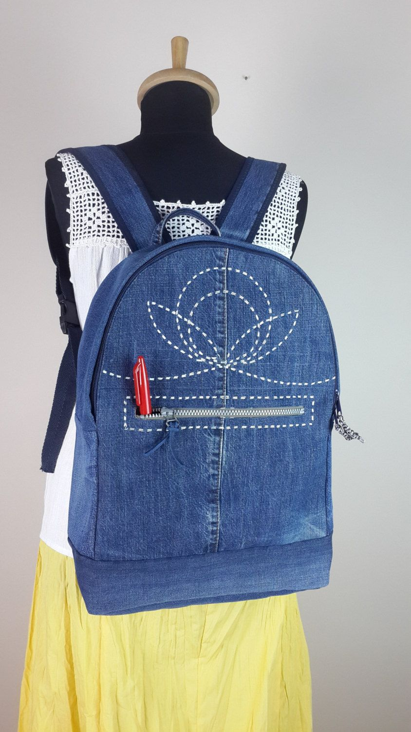 Denim Backpack, Jeans Backpack, Recycled Denim, Reclaimed Denim Bag by duduhandmade on Etsy