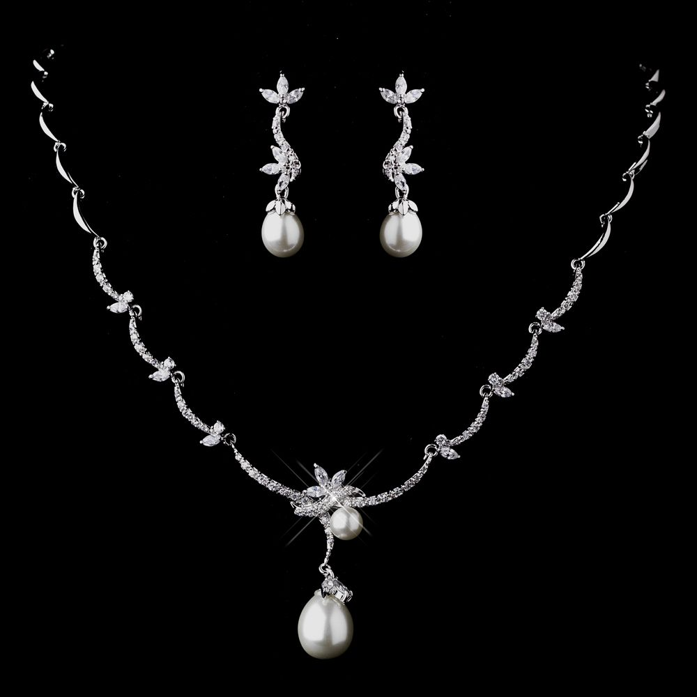 Regal CZ and White Pearl Bridal Jewelry Set - Affordable Elegance Bridal -
