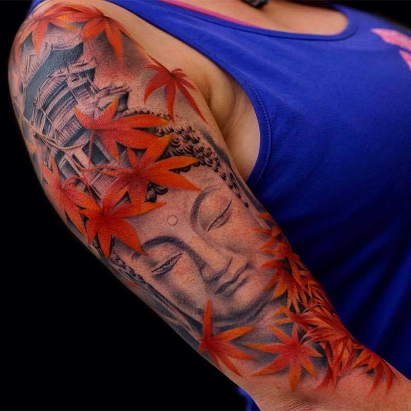 Amazing Buddha Tattoo On Sleeve By Khan Tattooist