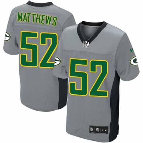 All Size Free Shipping Elite Men s Nike Green Bay Packers  52 Clay Matthews  Grey Shadow NFL Jersey. Have your Elite Men s Nike Green Bay Packers  52  Clay ... 243b03a32