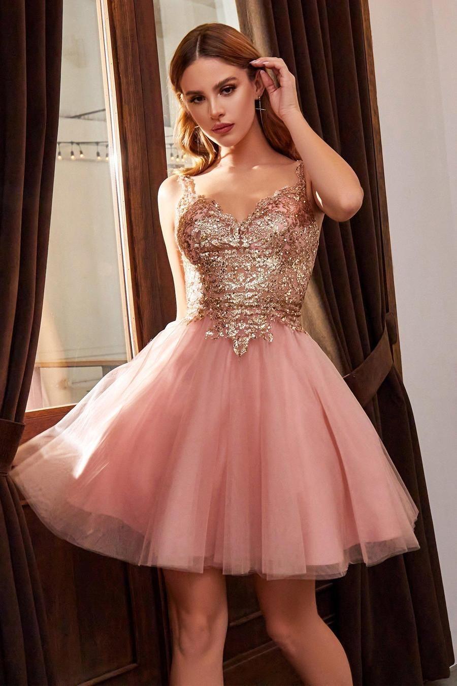 Embellished Short Tulle Dress By Cinderella Divine 9239 In 2021 Tulle Dress Short Rose Gold Dress Short Gold Dress Short [ 1350 x 900 Pixel ]