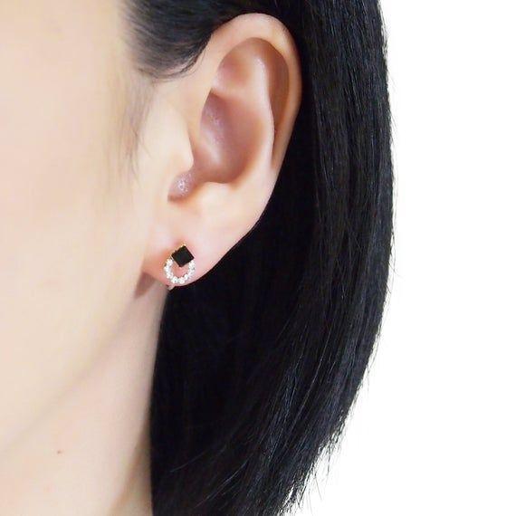 Swarovski black crystal clip on earrings, invisible clip on earrings, black rhinestone clip on earri
