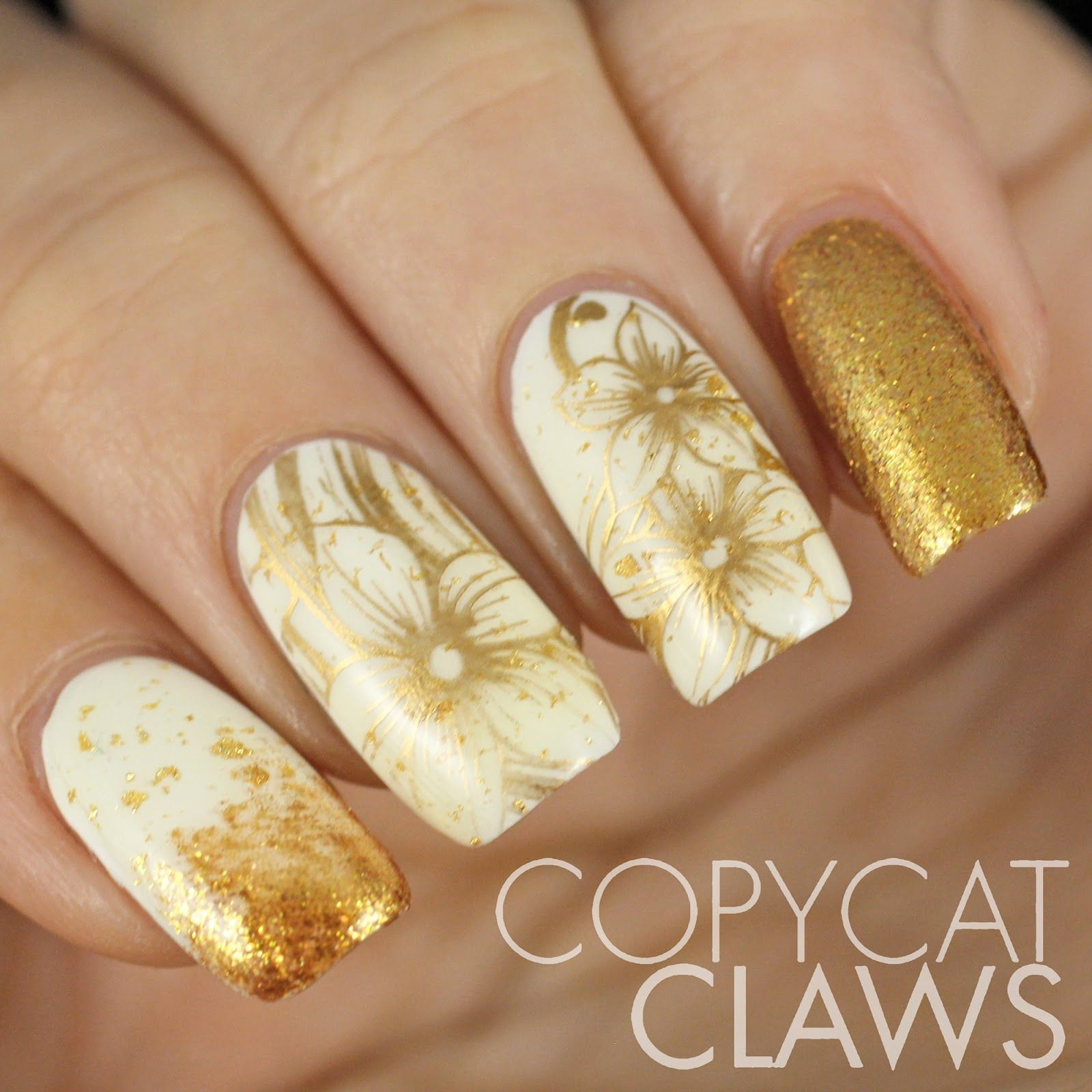 Copycat Claws Sunday Stamping White And Gold Nails Nail Art