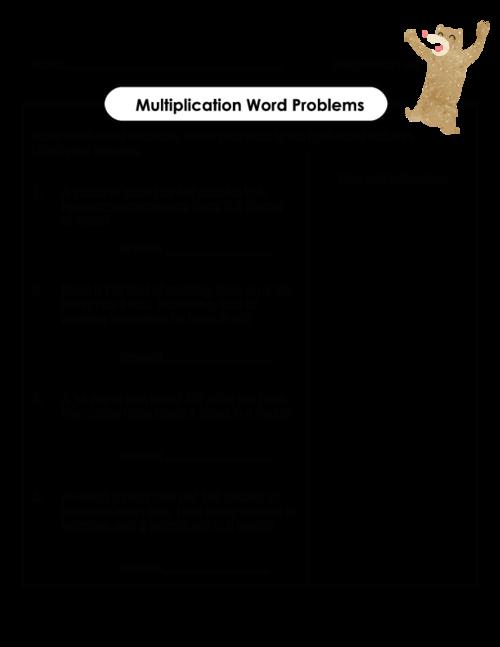 Multiplication Word Problems – Work Word Problems Worksheet