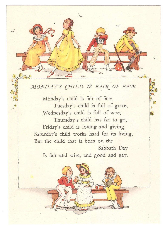 Nostalgic Vintage Nursery Rhyme Print By