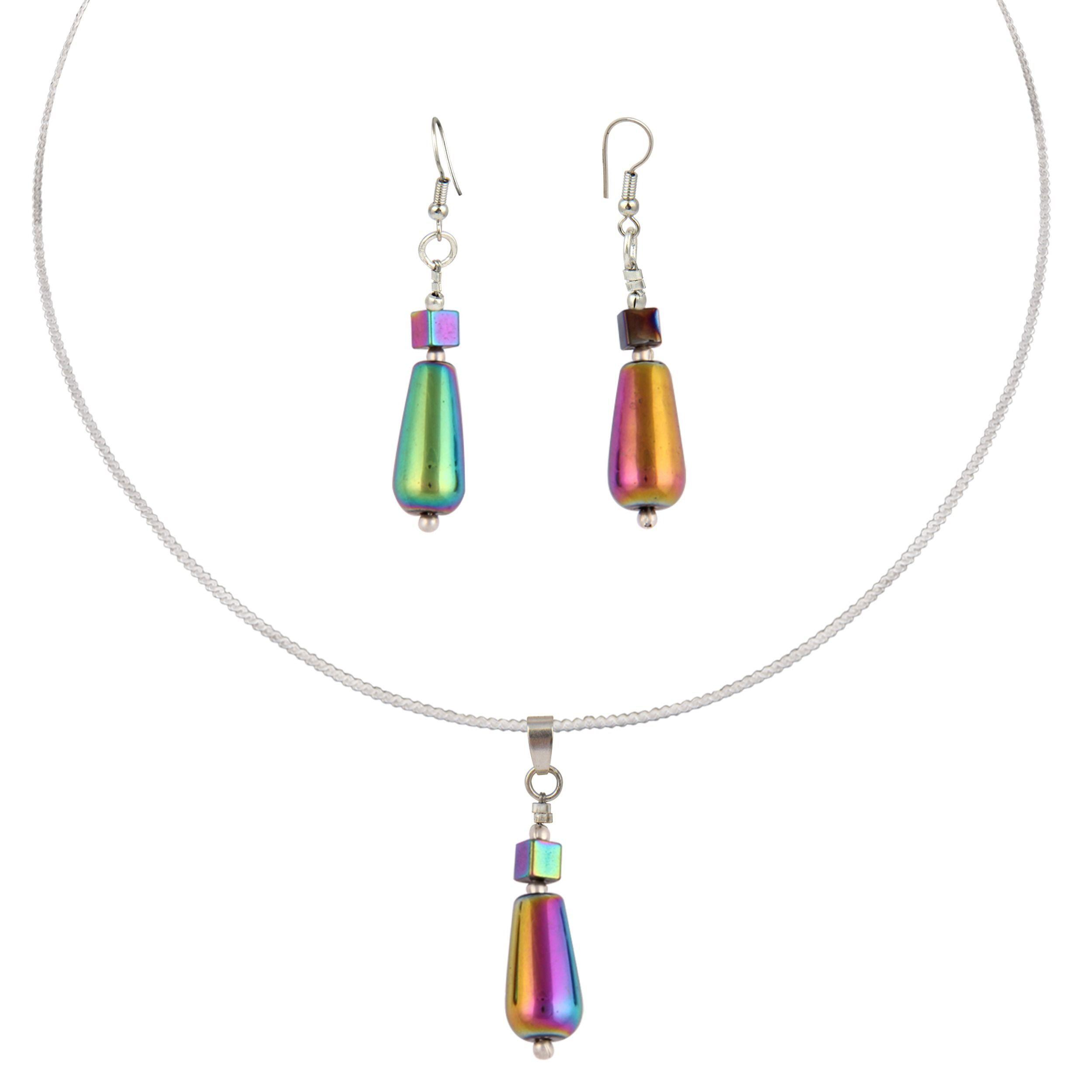 Pearlz ocean lady love inch rainbow hematite beads pendant