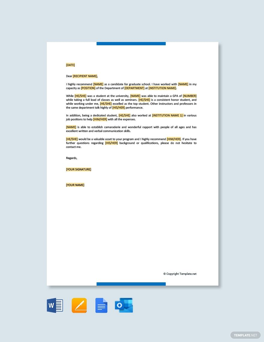 Free Letter of for Graduate School