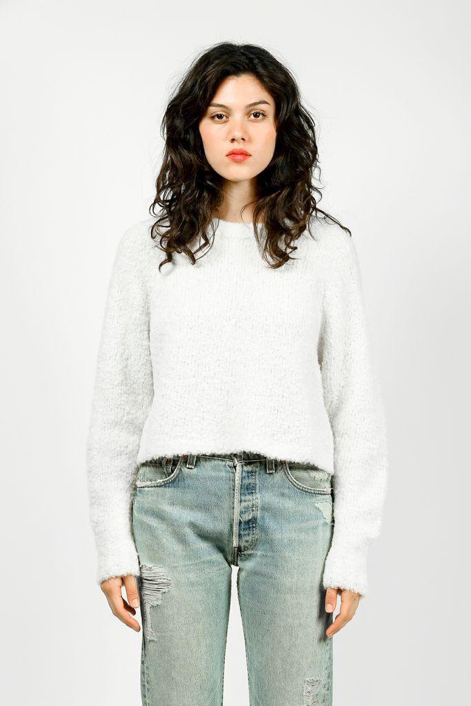 Anna Cropped Fuzzy Crew Sweater, Cream by Apiece Apart – Kick Pleat #apieceapart