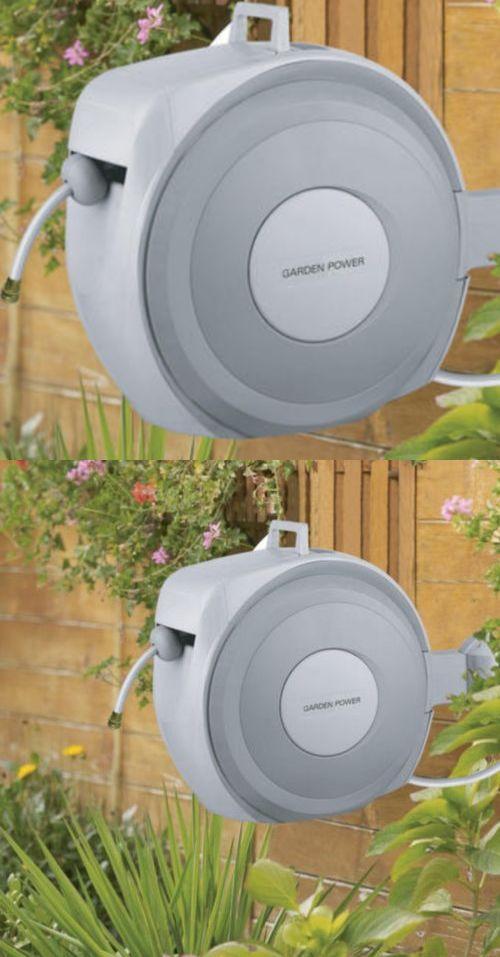 hose reels and storage 46435 garden power 65ft 5 8 retractable garden hose reel auto - Retractable Garden Hose Reel