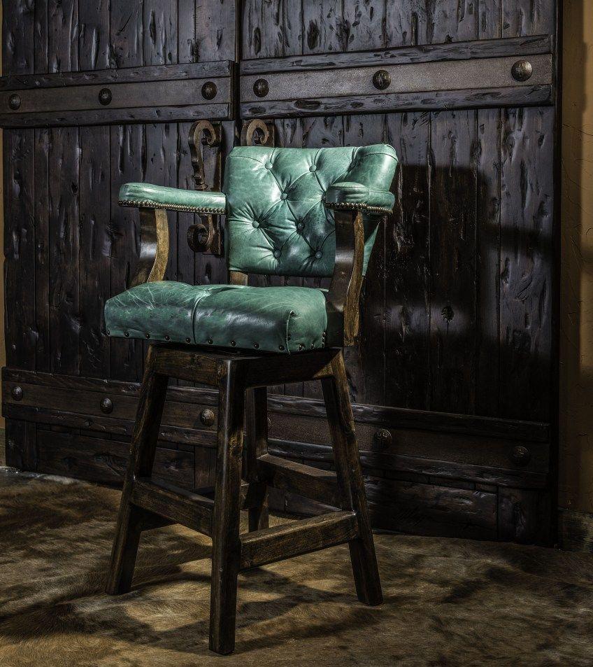 Tufted Leather Barstool Turquoise Barstool Western Barstool Tufted Leather Chair Upcycled Dining Chairs Bar Stools Tufted leather bar stool