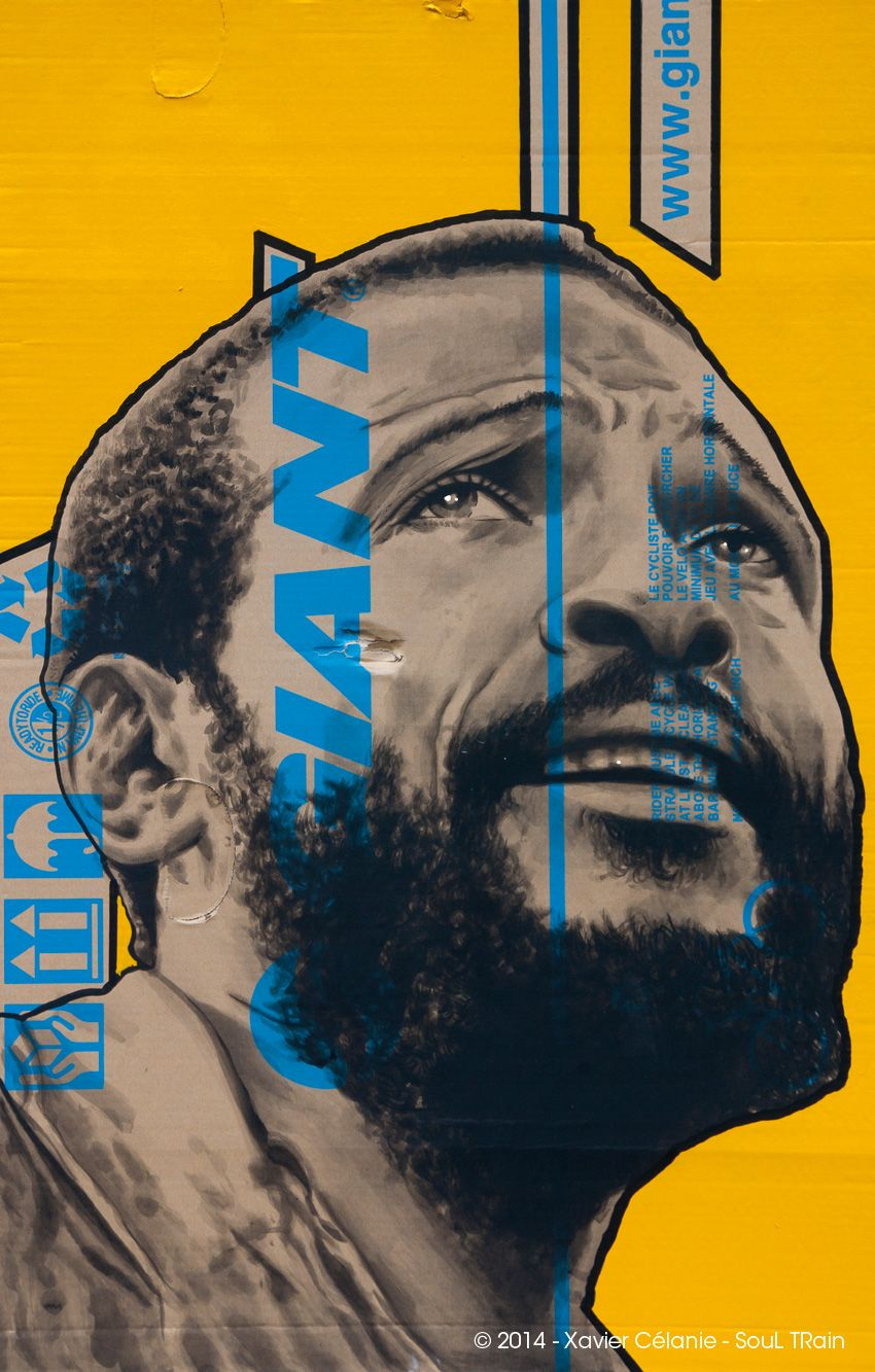 "Rider must be able Marvin Gaye Acrylique sur carton et laque industrielle - encadré 70x100 cm ""Soul TRain"" - 2014"