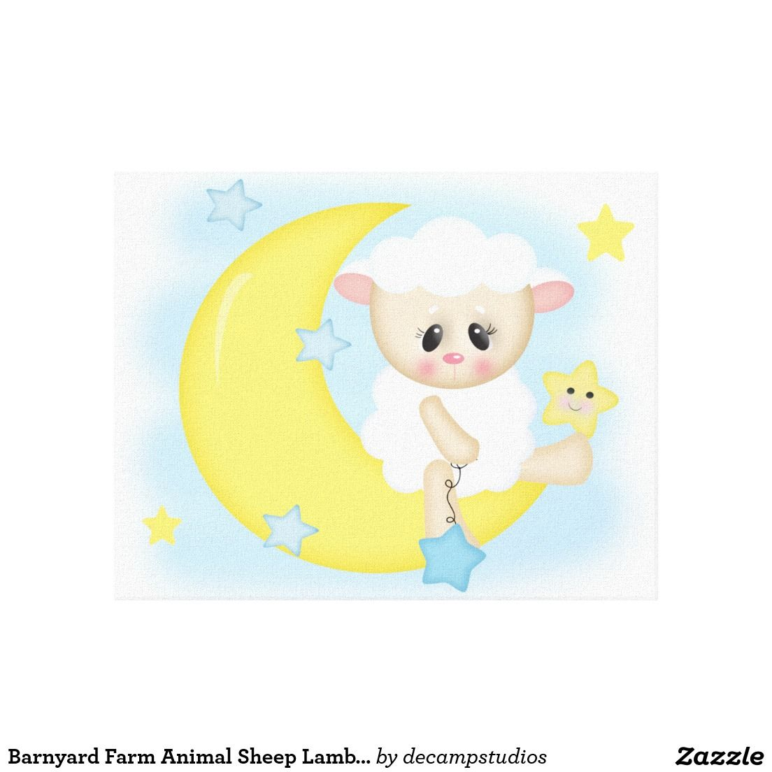 Barnyard Farm Animal Sleepy Sheep Lamb on the moon canvas baby boy ...