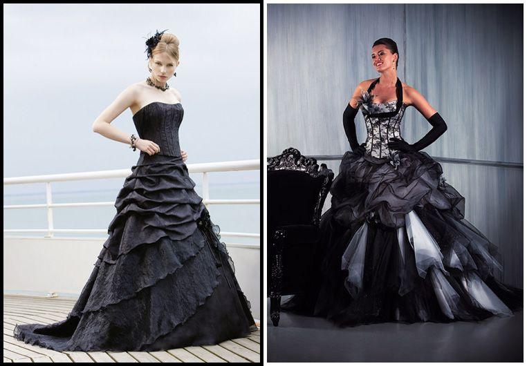 Floral noir gothique robe de mariée