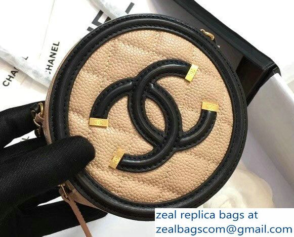 94f5f5bc1580dc Chanel CC Filigree Grained Round Clutch with Chain Bag A81599 Beige/Black  2018