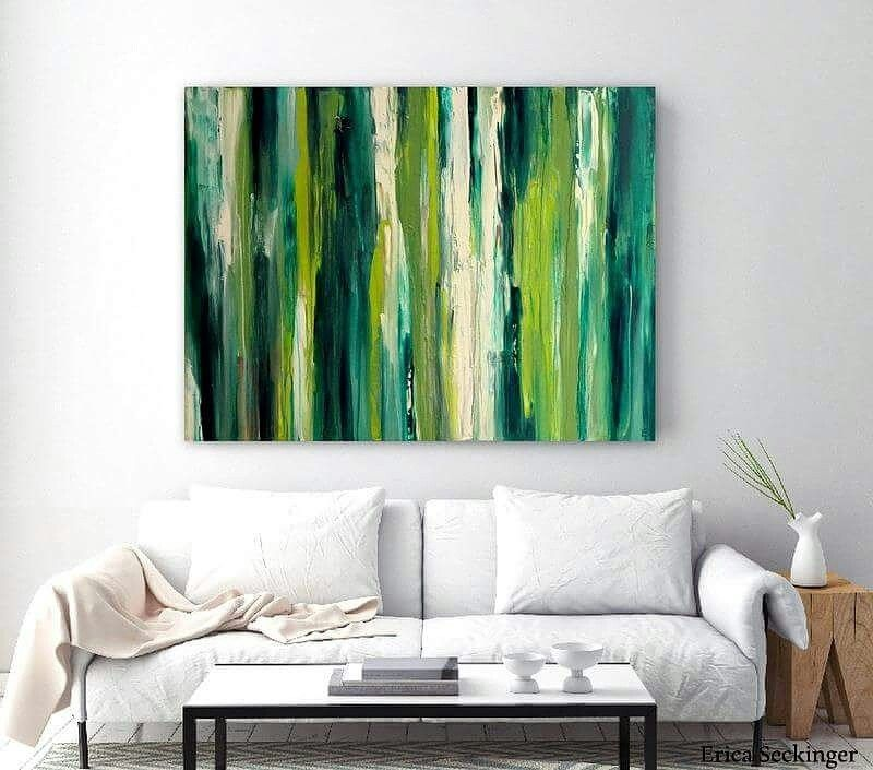 Large green abstract painting original canvas artwork contemporary art ready to hang also best wall decor images on pinterest mixed media rh
