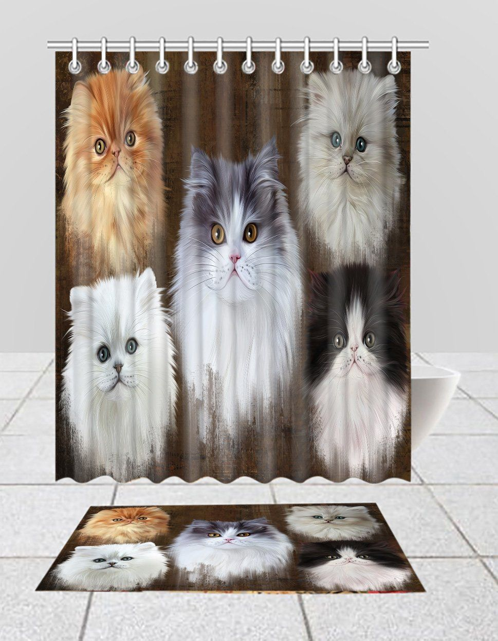 Rustic Persian Cats Bath Mat And Shower Curtain Combo In 2020