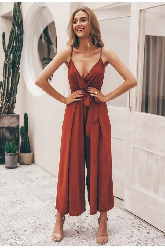 V neck split spaghetti strap long overalls jumpsuit Red / S - V-Neck Jumpsuit…