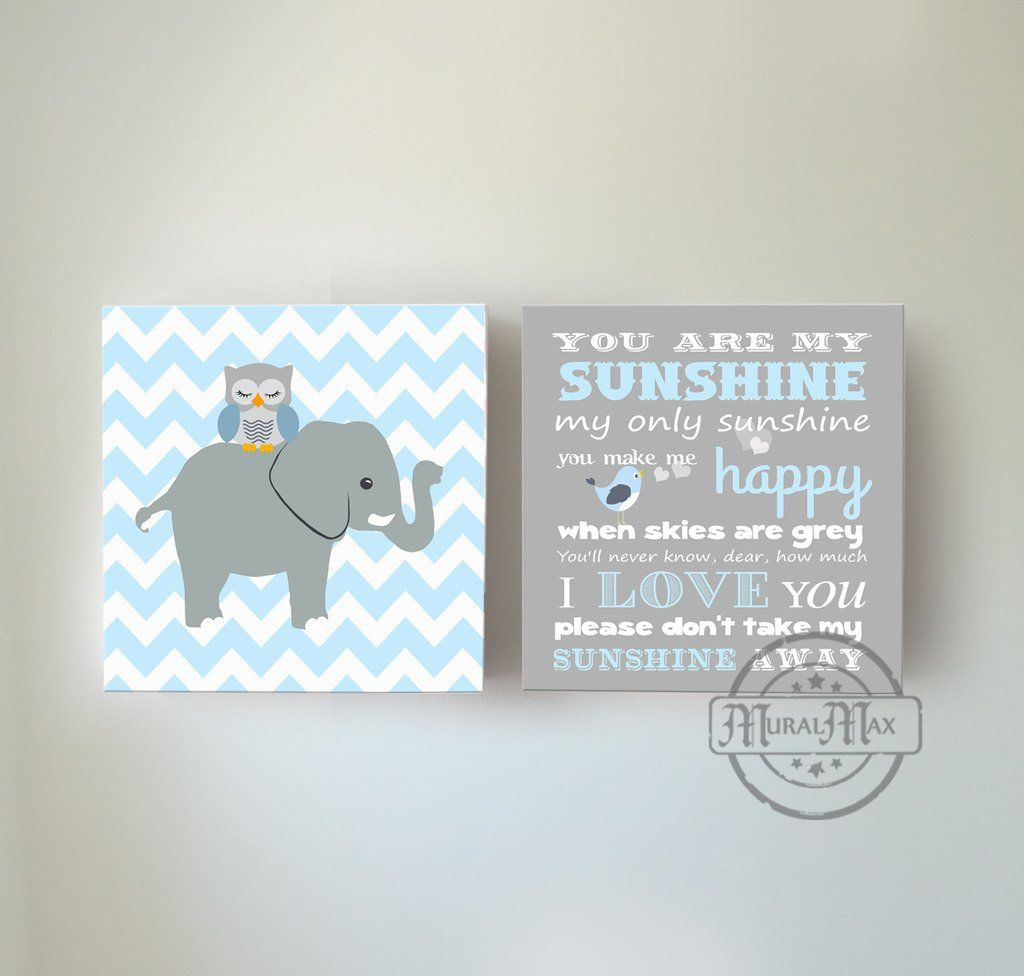 You are my sunshine canvas art elephant wall art children kids