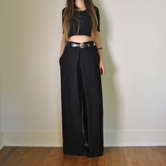 Wide Leg High Waisted Pants // Black Wide Leg Flowy Trousers with ...