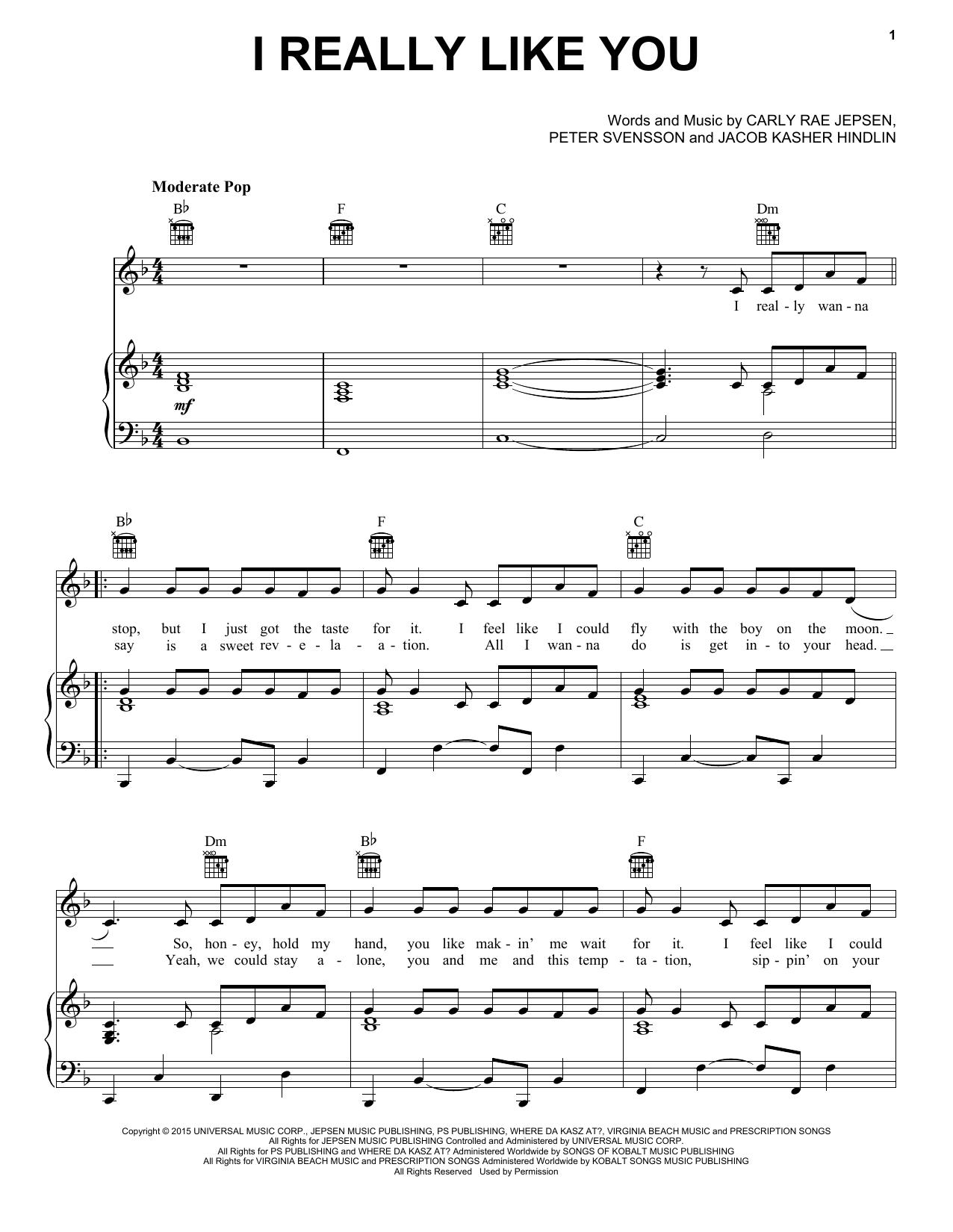 I Really Like You Sheet Music Carly Rae Jepsen Piano Vocal Guitar Right Hand Melody Sheet Music Digital Sheet Music Sheet Music Direct
