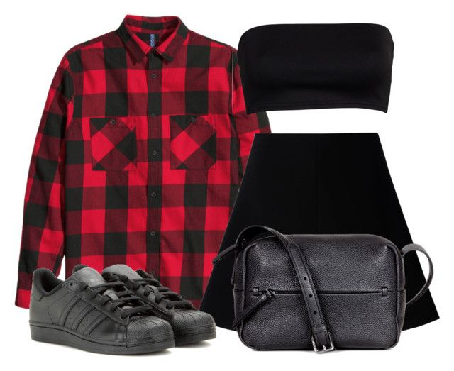 """Untitled #433"" by ashola18 ❤ liked on Polyvore featuring RED Valentino, ECCO, adidas, red and plaid"
