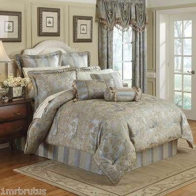 9pc croscill nicolette king comforter set euro shams for King shams on queen bed