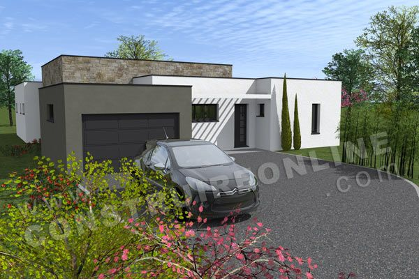 plan maison contemporaine garage EQUATION Construction Maison