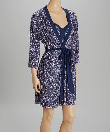 Look at this #zulilyfind! Blue Ditsy Chemise & Robe #zulilyfinds $19.99