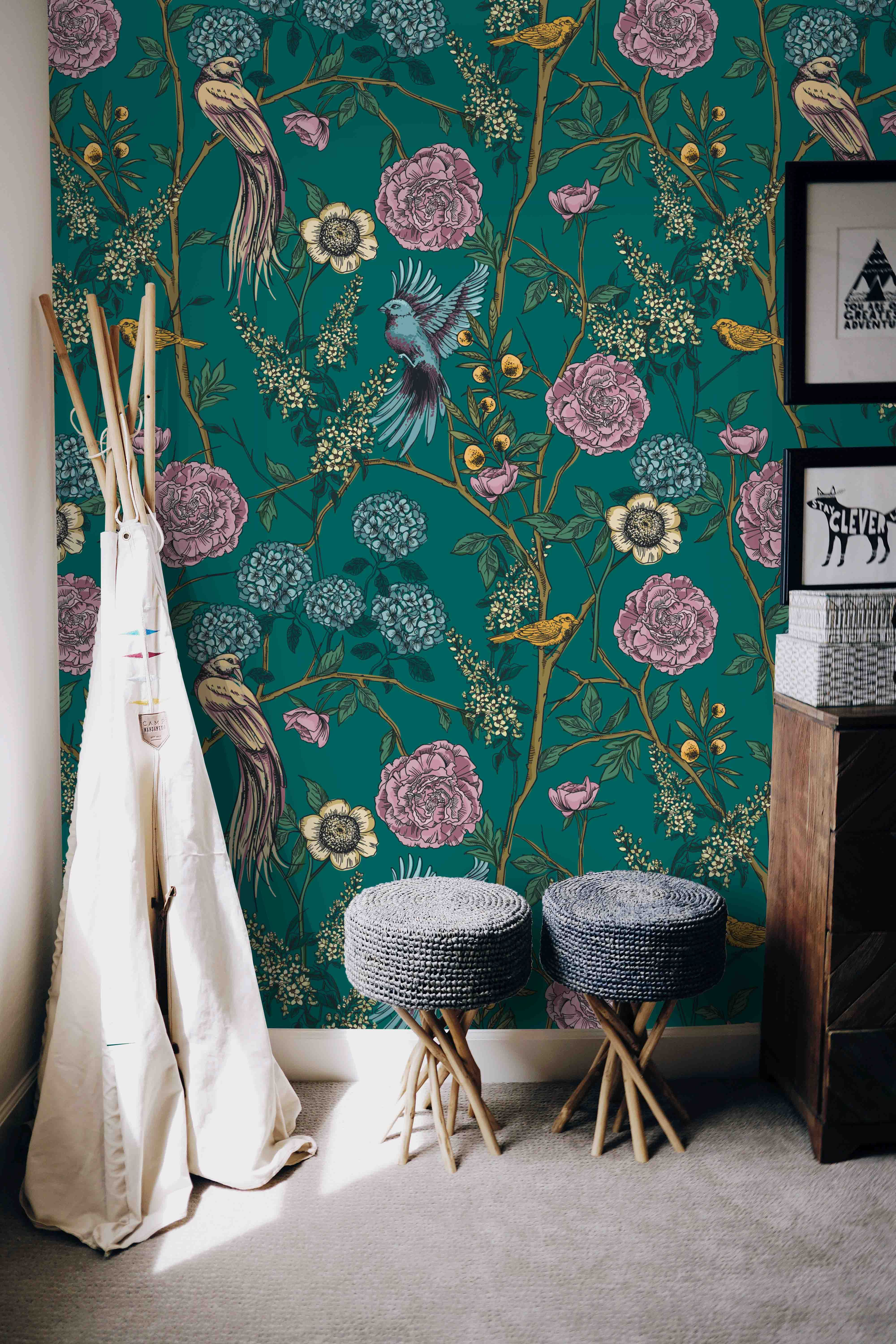 Floral Garden With Birds Wall Mural Removable Self Adhesive Etsy Peel And Stick Wallpaper Bird Wallpaper Wall Murals