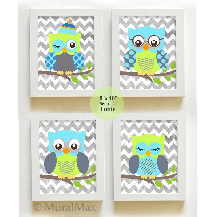 Baby Room Decor Owl Nursery Art Set Of 4 By Muralmax 48 00 So
