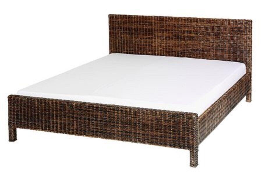 Bett Schlafzimmer Doppelbett Ehebett Rattanbett 180x200 Cm Braun