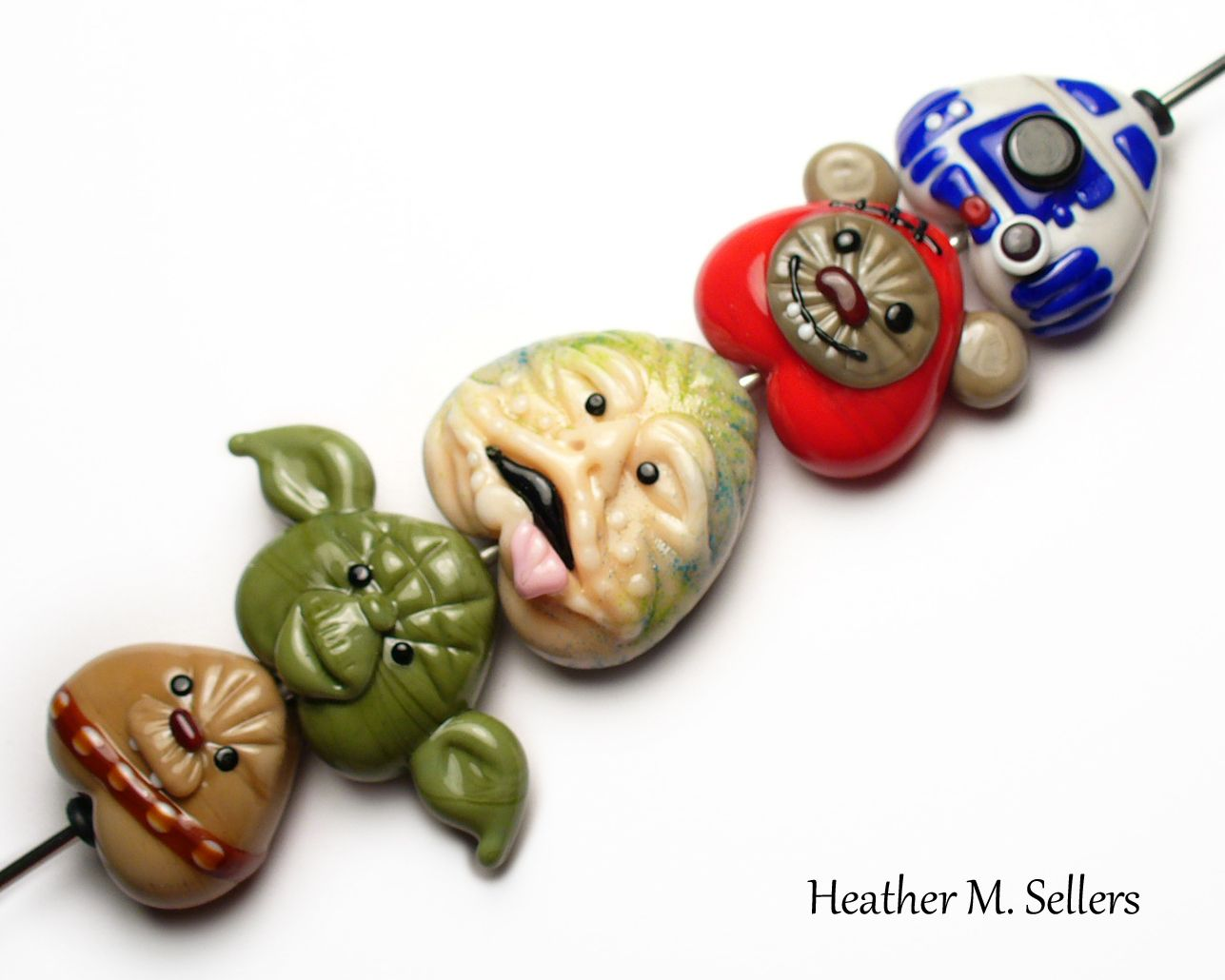 some of my favorite characters from star wars lampwork glass beads by heather sellers art glass by shawna