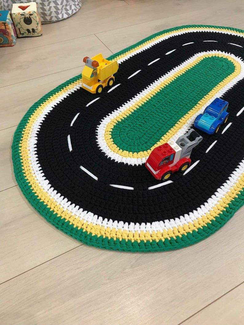 Race Road Track Toddler Play Mat Play Mat Car Race Car Track Etsy In 2020 Knit Rug Toddler Play Boys Rug