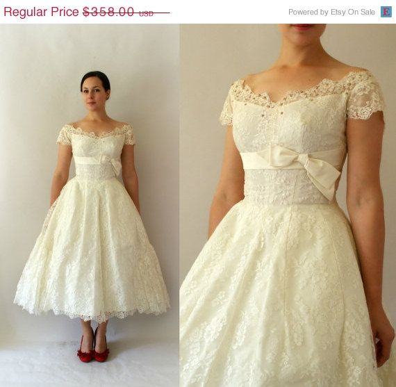 20 Sale 1950s Vintage Wedding Dress 50s Ivory Lace Tea Length Wedding Gown Map Of My He Vintage Wedding Dress 1950s Wedding Dresses 50s Lace Dress Vintage
