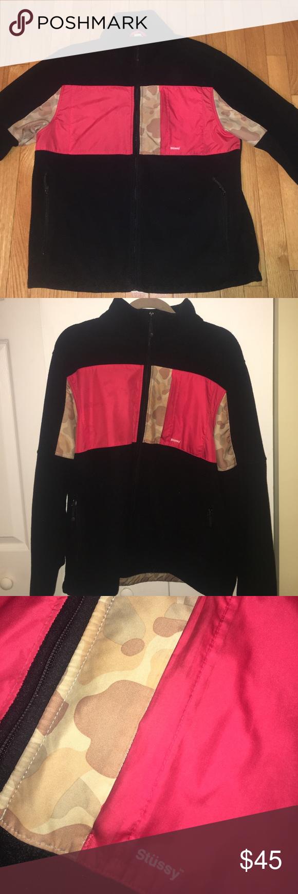Rare stussy camo print fleece jacket camo print camo and conditioner