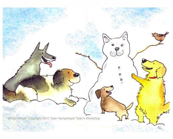 Dog Card Dog Christmas Card Dog Art Funny Dogs Etsy In 2021 Dog Christmas Card Dog Art Dancing Cat