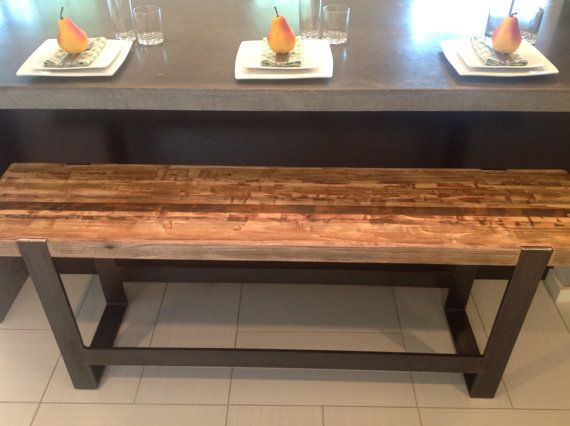 The Industrial Modern Bar Bench 4 Length By Seventeen20 On Etsy 745 00 Bar Bench Reclaimed Wood Bars Homemade Furniture