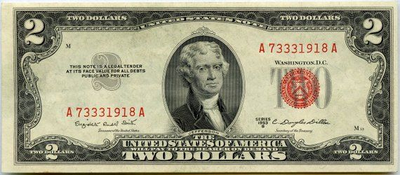 F1511 Au Cu Two Dollars Dollar Bill