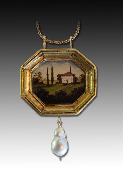 Christina Goodman: Mixed media, Tuscan hand painted pendant