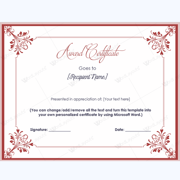 Award Certificate Template Award Appreciationcertificate