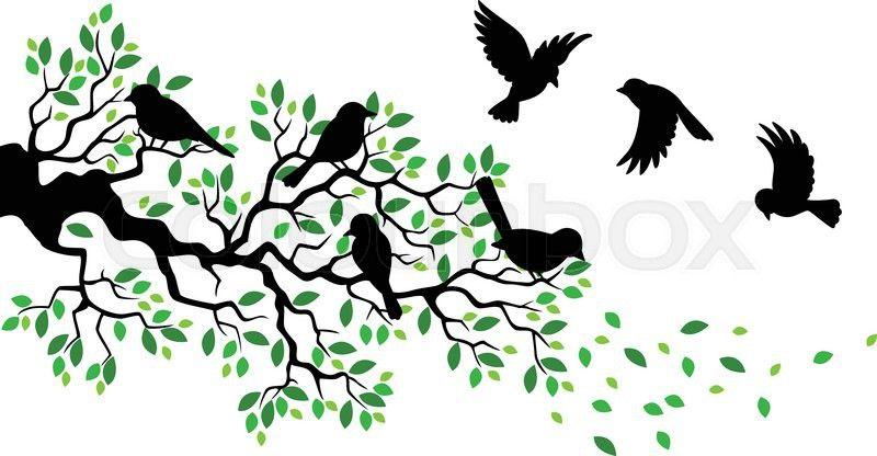 Vector illustration of Cartoon tree branch with bird ...