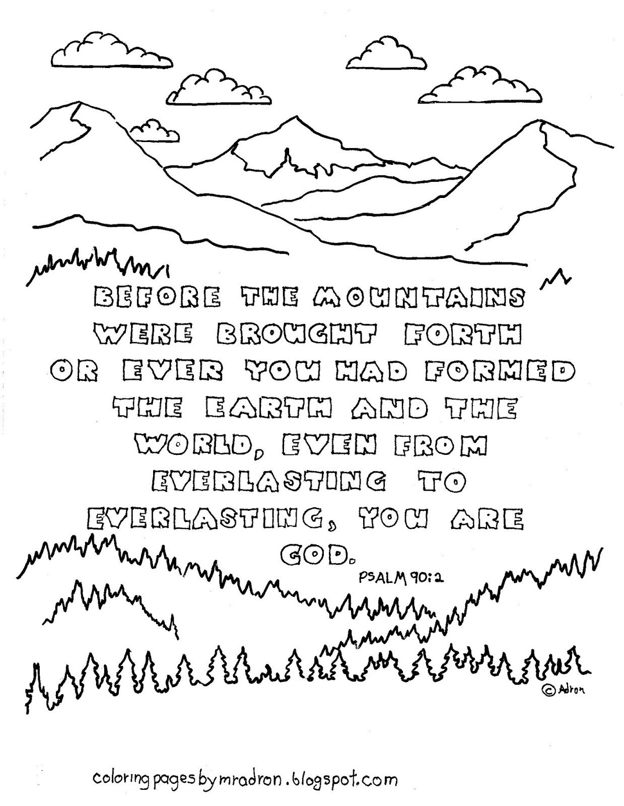 Coloring Pages For Kids By Mr Adron Printable Page Psalm From Everlasting You Are God
