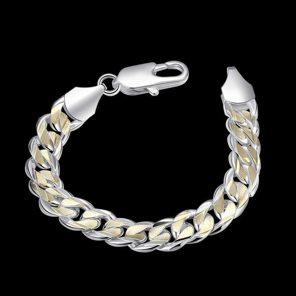 Hot sterling solid silver men jewelry gold m chain bracelet for