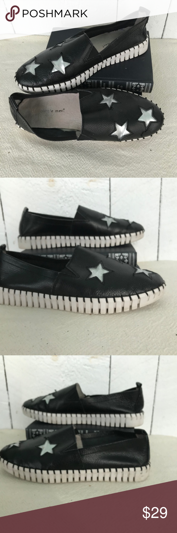 Bernie Mev leather  black star slip on sneaker