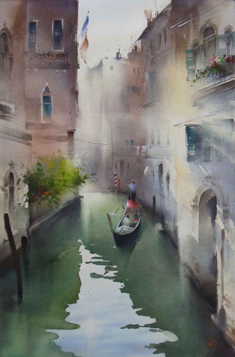 Ibryaev Venice Painting Watercolor City Watercolor Art