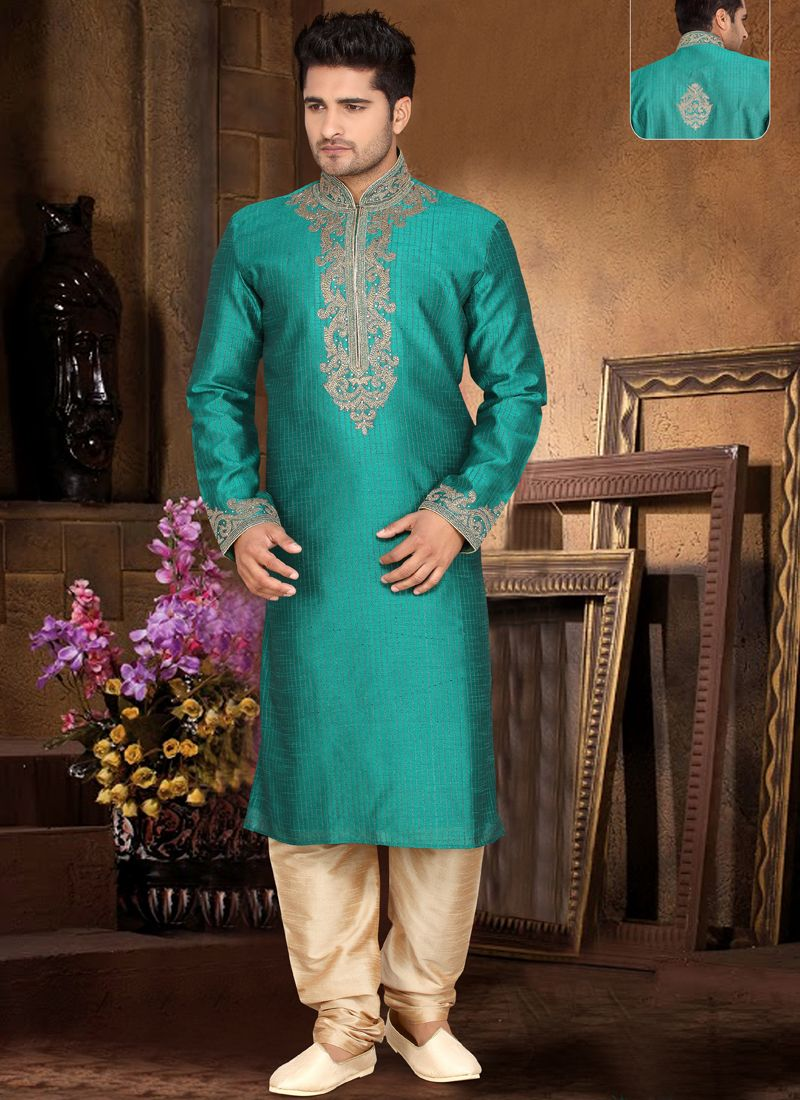 Teal Green Art Silk Machine Work Kurta Pajama Buy Now @ http://www ...