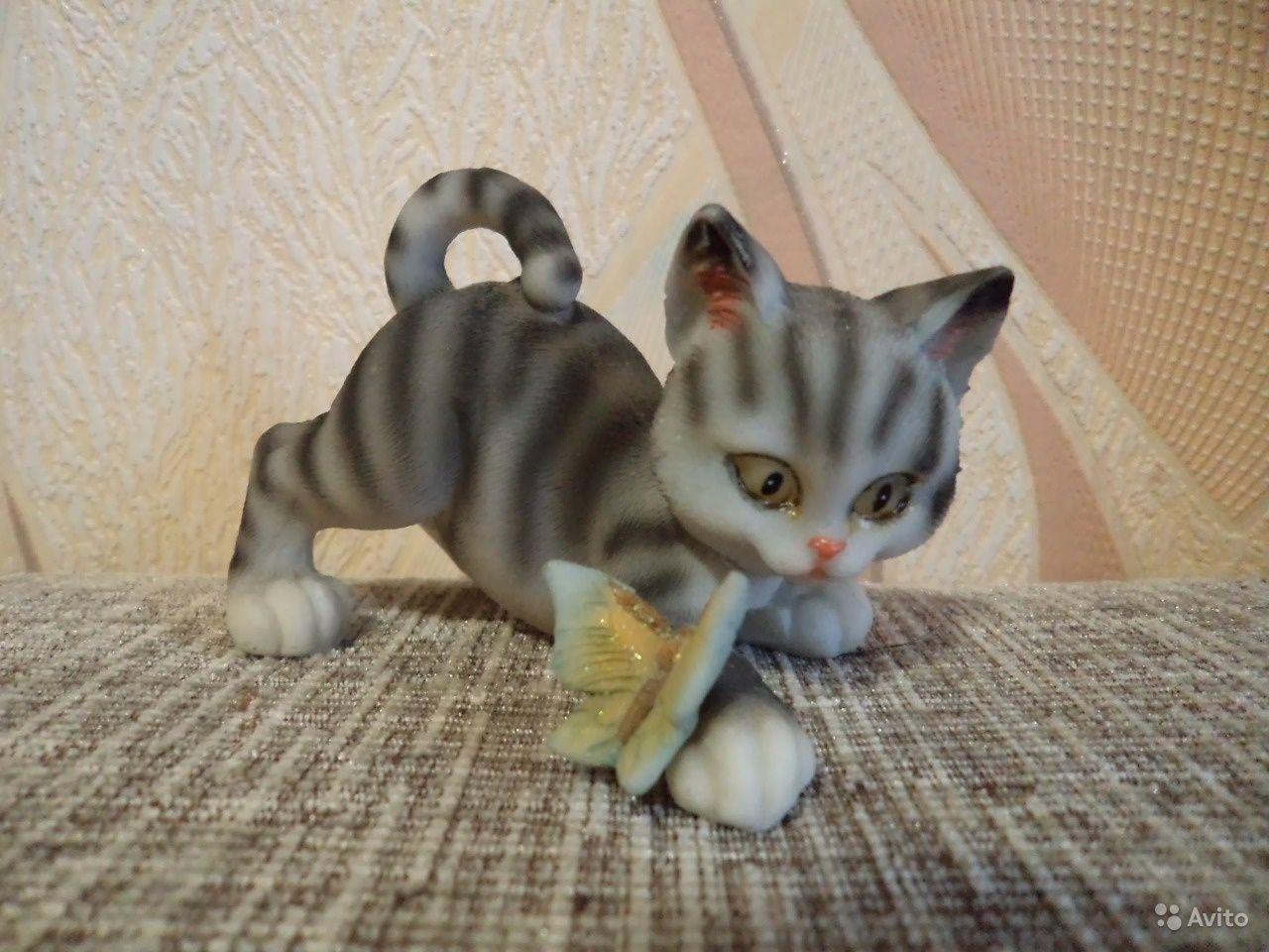 Статуэтка Котенок с бабочкой кошка кот длина 9 см — Высота ...
