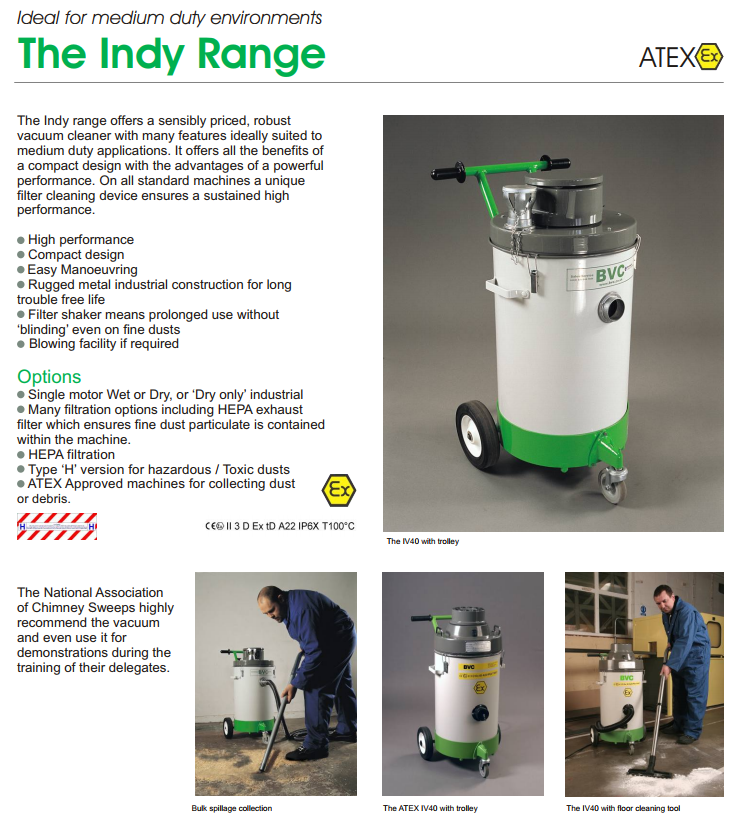 THE INDY RANGE | INDUSTRIAL & COMMERCIAL VACUUM CLEANERS BVC