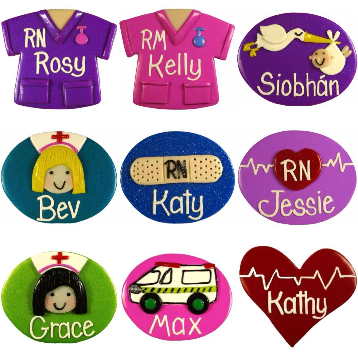nurse name badges handmade to order choose from 150 designs 24