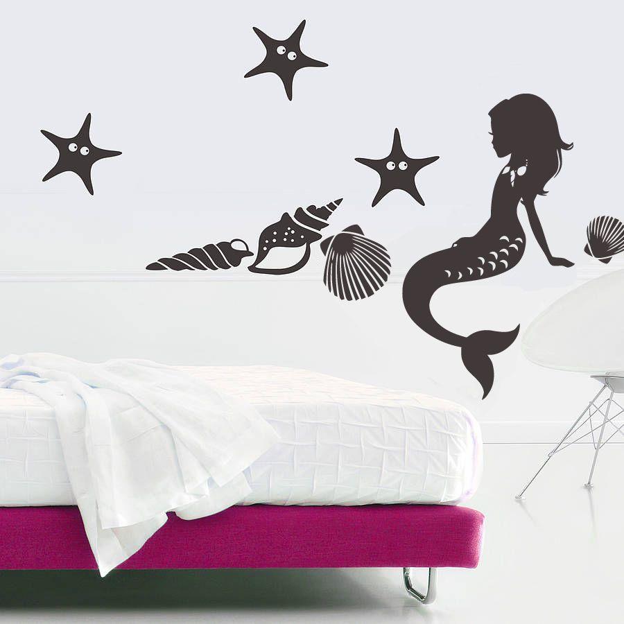 Wall Decal Vinyl Sticker Mermaid Nymph Deep Sea Nursery Kids Bedroom(r389)
